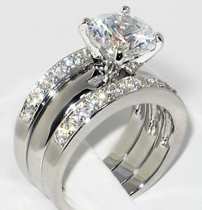 337 Ct Round CZ Solitaire Bridal Engagement Wedding 3 Piece Ring