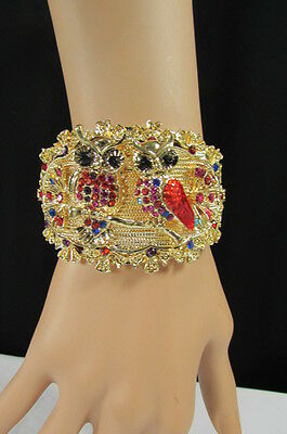 New Women Gold Metal Fashion Cuff Bracelet Mini Owls Flowers Red Pink Blue Brown
