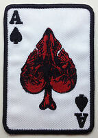 Outlaw Skull Ace Of Spades Biker Vest Sew On Patch (r)