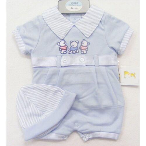 Bebé Chicos-Azul 3 Peluches Mameluco con sombrero a juego