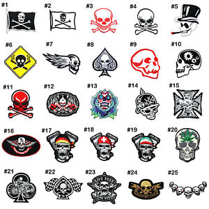 Patch patches embroidered iron on biker skull motorcycle rock pirate chopper