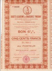 """Mon ChéRi Société Alsacienne De Chaussures """"pingouin-bon 6,5% De 500 Frs. -1928 - Fegersheim –-rsheim Fr-fr Afficher Le Titre D'origine Vente En Ligne Du Dernier ModèLe En 2019 50%"""