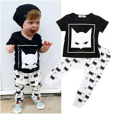 Cute Newborn Baby Boys Batman Short sleeve T-shirt Pants Outfits Clothes Set AU