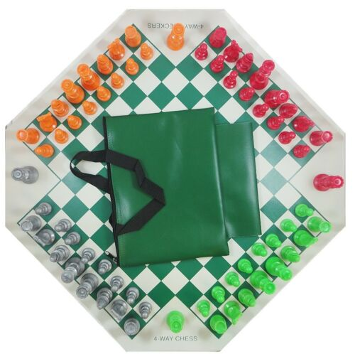 4 SIDES COLOR CHESS PIECES 4 PLAYER 4 WAY CHESS SET BOARD BAG