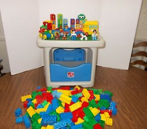 Details About Step 2 Duplo Lego Table With Storage In Bottom Number Train Bus 270 Blocks