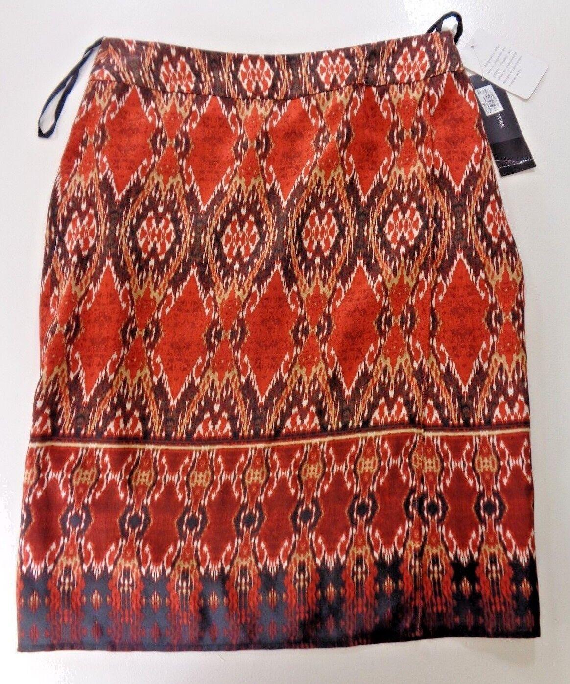 Jones New York Collection Womens Silk Burnt orange Batik Faux Wrap Lined Skirt 4