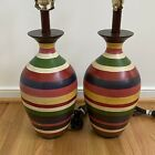 """1990s Contemporary Striped 20"""" Table Lamps Red Green Cream"""