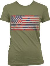 Red White and Blue Paint Splatter Flag -USA Pride America Juniors T-shirt