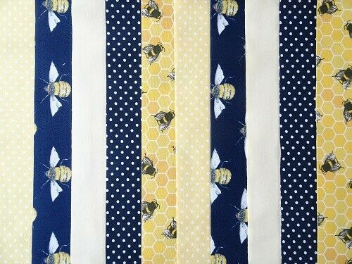 LEMON BEE 20 JELLY ROLL STRIPS COTTON PATCHWORK FABRIC 22 INCH LONG ~ NAVY