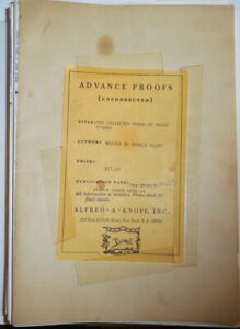Details About Donald Allen Collected Poems Of Frank Ohara Advance Proofs First Edition 1971