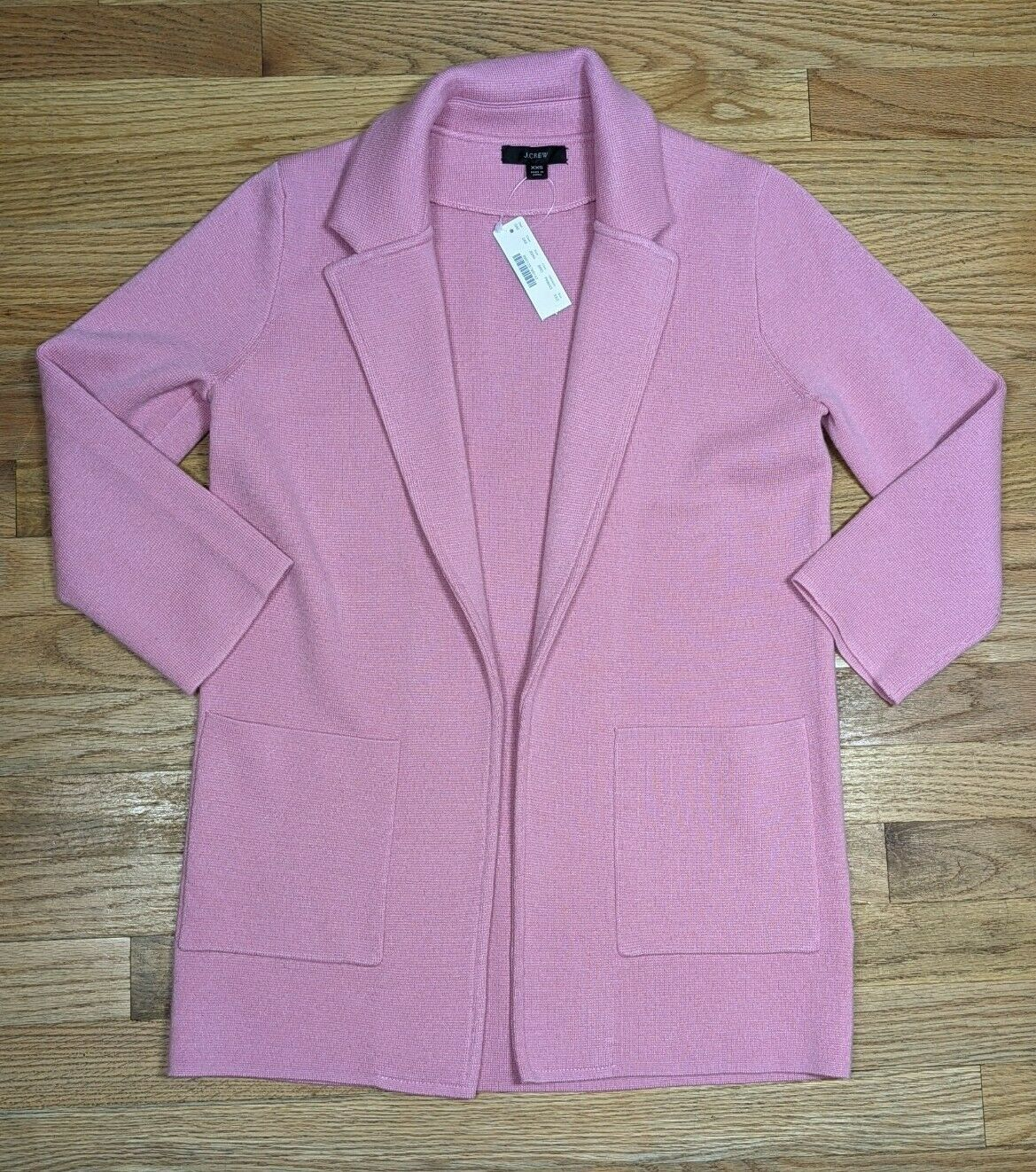 NWT J Crew Sophie Open Front Sweater Blazer Bohemian Rose Pink 2XS, XXS