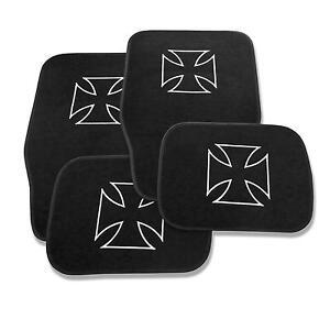 4 tapis sol moquette noir logo iron cross bmw serie 1 e81. Black Bedroom Furniture Sets. Home Design Ideas