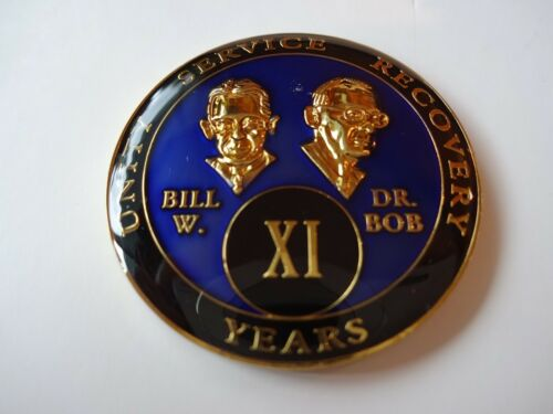 Display AA Bill/&Bob Blue 11 Year Coin Tri-Plate Alcoholics Anonymous Medallion