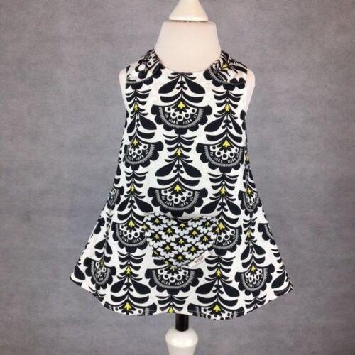 New Born-8 Years Handmade Black and White Reversible girl's dress Size