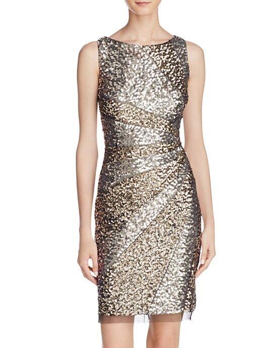 ADRIANNA PAPELL STARBURST SEQUIN MESH SHEATH DRESS sz 8
