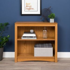 Bookcase-Two-Shelves-Durable-Natural-Oak-Sturdy-Woods-31-5-inWx29-in-Hx13-inD
