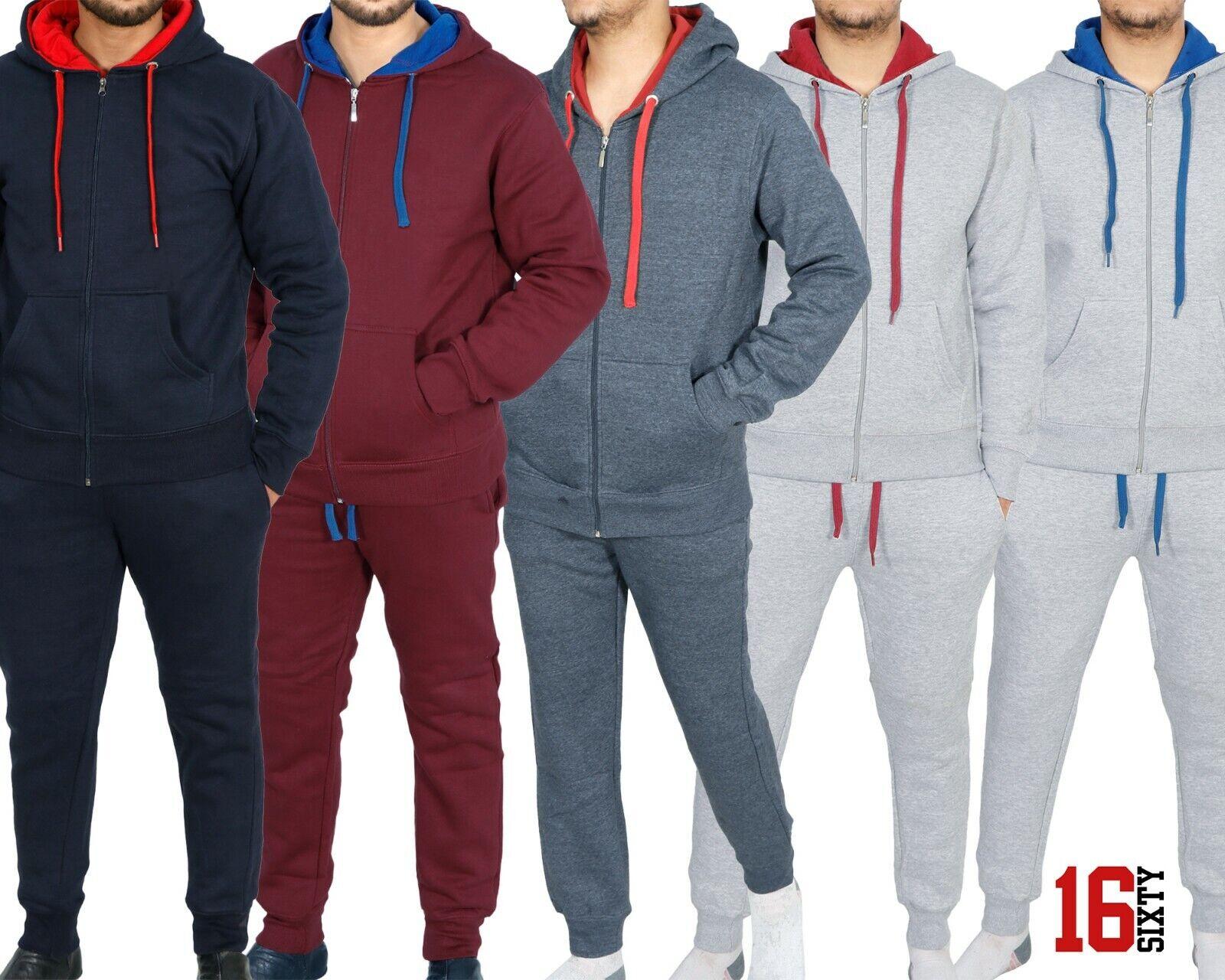 Men's Tracksuit Set Sports Top Bottoms 2 Pcs Gym Cotton Zipper Hoodie Gift