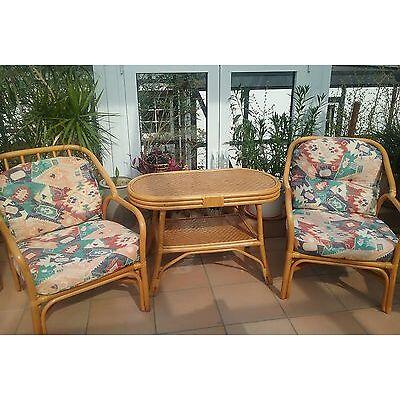 Rattan Sitzgruppe Garnitur Tisch und 2 Sessel mit  Sitz - und Rückenkissen
