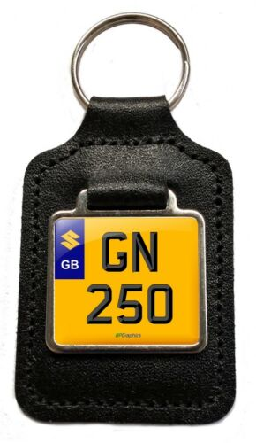 GN 250 Reg Number Plate Leather Keyring Gift for Suzuki GN250 Owners NOS