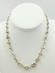 Gucci Link Chain Ebay >> Sterling Silver 925 Graduated Modern Gucci Chain Link Necklace Ebay
