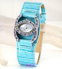 Turq Blue Designer Kiss Bling Ladies Cocktail Dress Watch w/ Swarovski Crystals