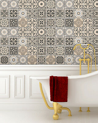 Kitchen 24 PC Set Tile Decals Retro Vinyl Tile Sticker Bathroom mural Decor BS20