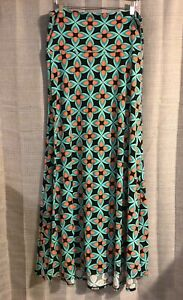LuLaRoe-Black-Aqua-Coral-Teardrop-Pattern-Maxi-Skirt-Large