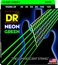 DR Strings NGB6-30 NEON GREEN Coated Bass Guitar Strings - Medium - 6-String Set