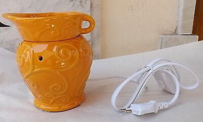 Diffusore Ambiente Ceramica Gialla A Luce Led Brucia Essenze Lampada Ecrù Scelta Materiali