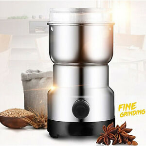 2019-New-Electric-Coffee-Grinder-Whole-Bean-Nut-Spice-Blender-Matte-Silver-200W