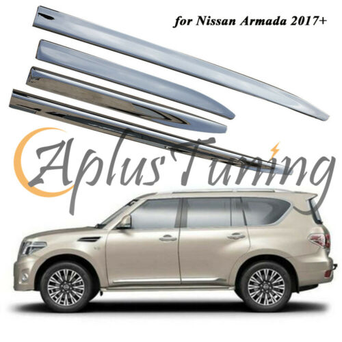 4PCS Fit Nissan Armada 2017 2018 2019 ABS Chrome Door Side Sill Trim Body Side