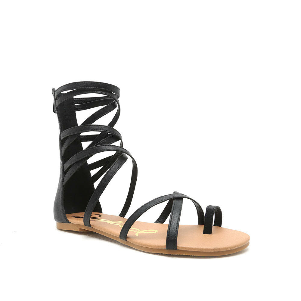 Women's Black Back Strappy Gladiator Leatherette Zipper Back Black Flat Sandals 9c7c26