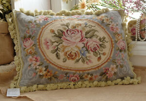 20-034-So-Stunning-European-Style-Gorgeous-Handmade-Blue-Needlepoint-Pillow-Cushion