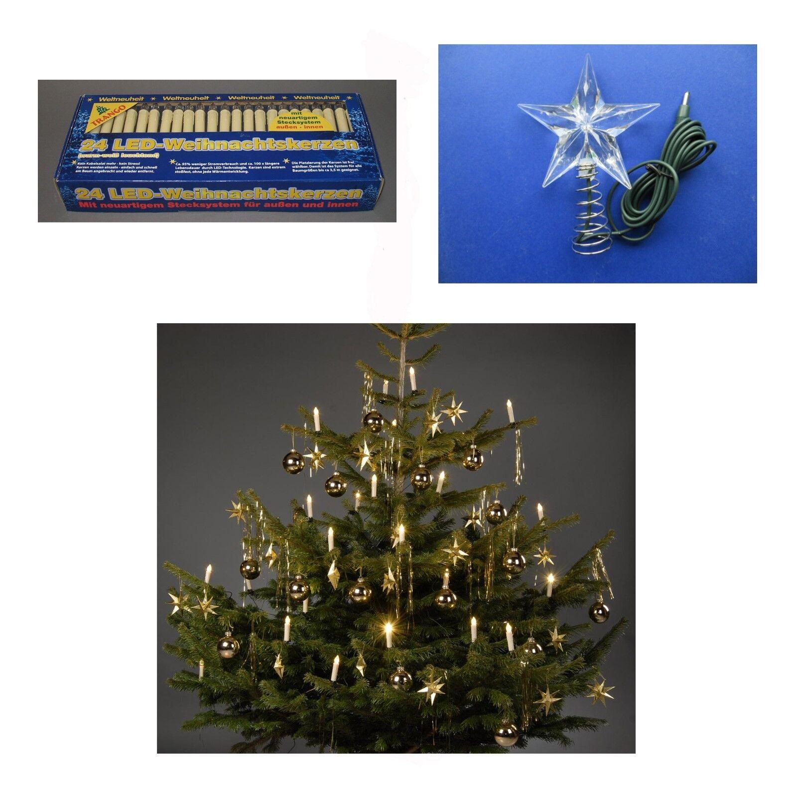 LED Weihnachts Kerzen Stern  Aussen Lichterkette Tannen Christ Baum Weihnachten