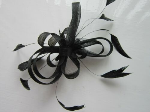 Black FASCINATOR by JuelzLooped NetFeather TendrilsComb 72A
