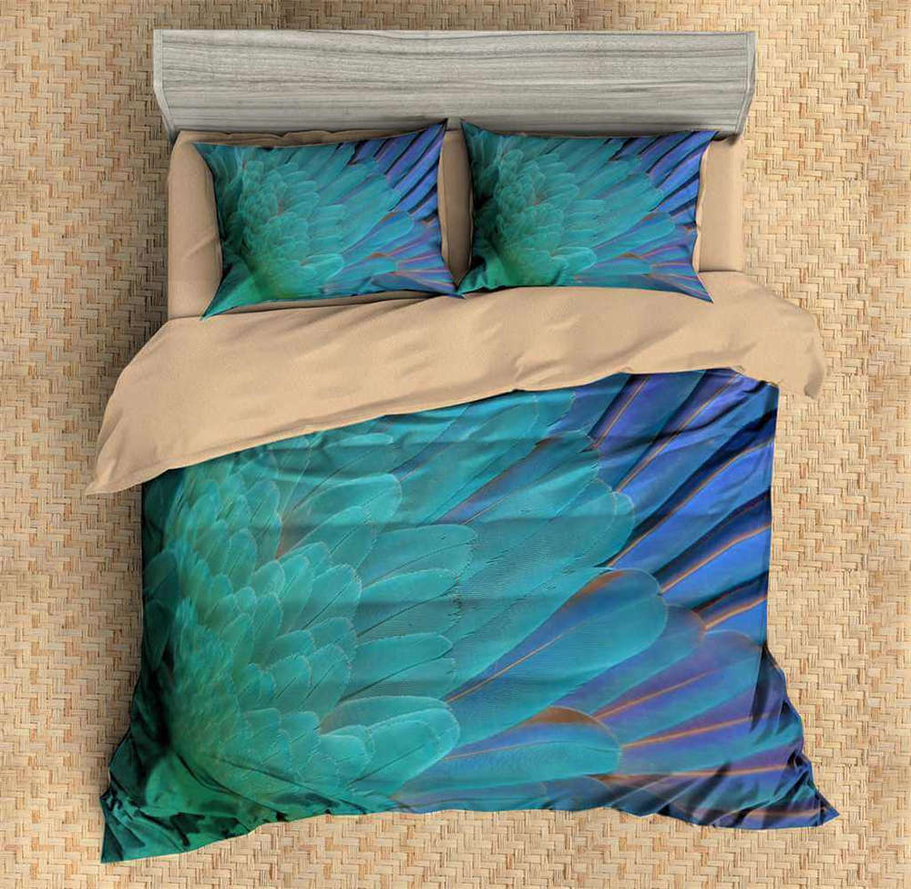 Blau Great Shiny Feathers 3D Digital Print Bedding Duvet Quilt Cover Pillowcase