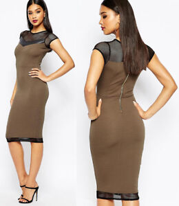 River-Island-NEW-Khaki-Bodycon-Mesh-Detail-Midi-Dress-Sizes-6-to-16