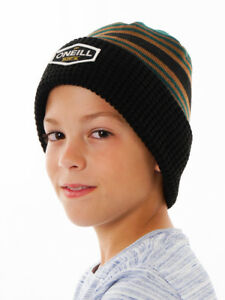 O'Neill Hat Beanie Knitted Layout Green Stripes Patches Warm