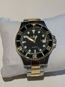 Dugena-Men-039-s-Two-Tone-Diver-Wrist-Watch-Automatic-Stainless-black-face-xtra-link