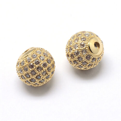10pcs Brass Pave Crystal Cubic Zirconia Beads Loose Disco Ball Bead Spacers 8mm