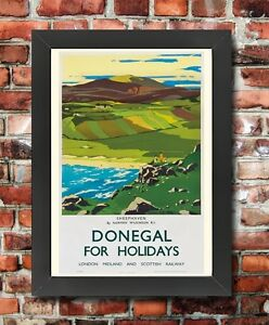 TX271-Vintage-Sheephaven-Donegal-Ireland-LMS-Railway-Framed-Travel-Poster-A3-A4