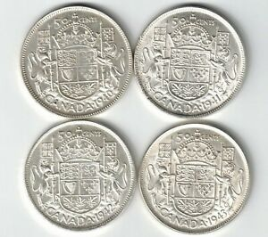 4-X-CANADA-50-CENTS-HALF-DOLLARS-KING-GEORGE-VI-SILVER-COINS-1940-1941-1942-1943