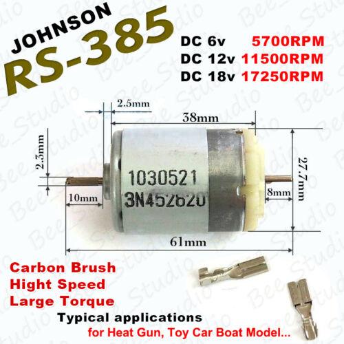 DC 6V-18V 12V 11500RPM High Speed Dual Shaft Large Torque JOHNSON RS385 DC Motor