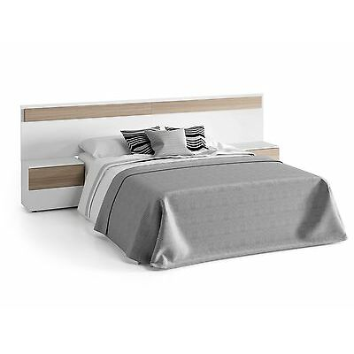 Dormitorio cama matrimonio, cabezal y 2 mesitas, cabecero Blanco Brillo y Fresno