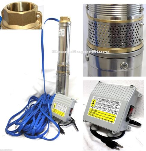 """1.5HP 4/"""" Stainless Steel Deep Bore Multistage Submersible Well Pump 115V 17.5GPM"""