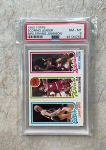 1980 Topps Basketball Card Scoring Ldrs Larry Bird Magic Johnson Rookie PSA 8