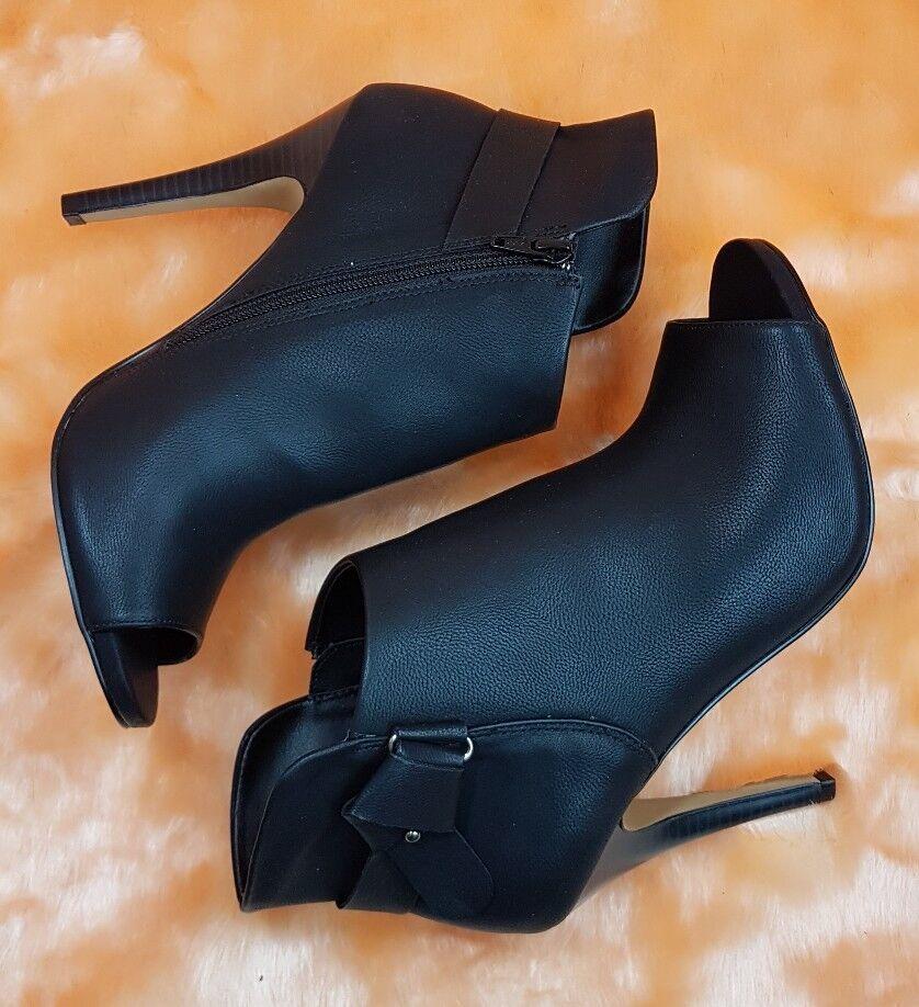 New  APT.9 Sz 10 Apsam Black Peep toe Ankle Boots Booties High Heels Pumps