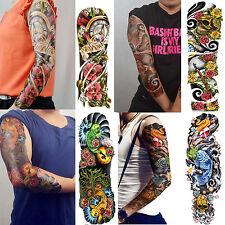 4-Sheet Extra Large Temporary Tattoos Long Full Arm Skull Flower Tattoo Stickers