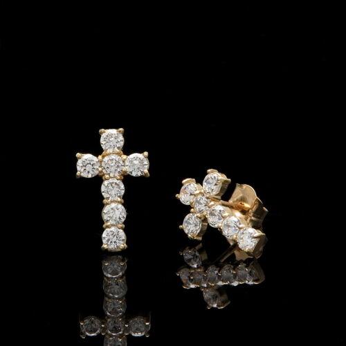 3//4CT Created Diamond Cross Earrings 14K Yellow Gold Crucifix Studs Round-Cut
