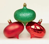 6 LARGE RED & GREEN shatterproof Christmas tree Baubles Decorations Mixed finish